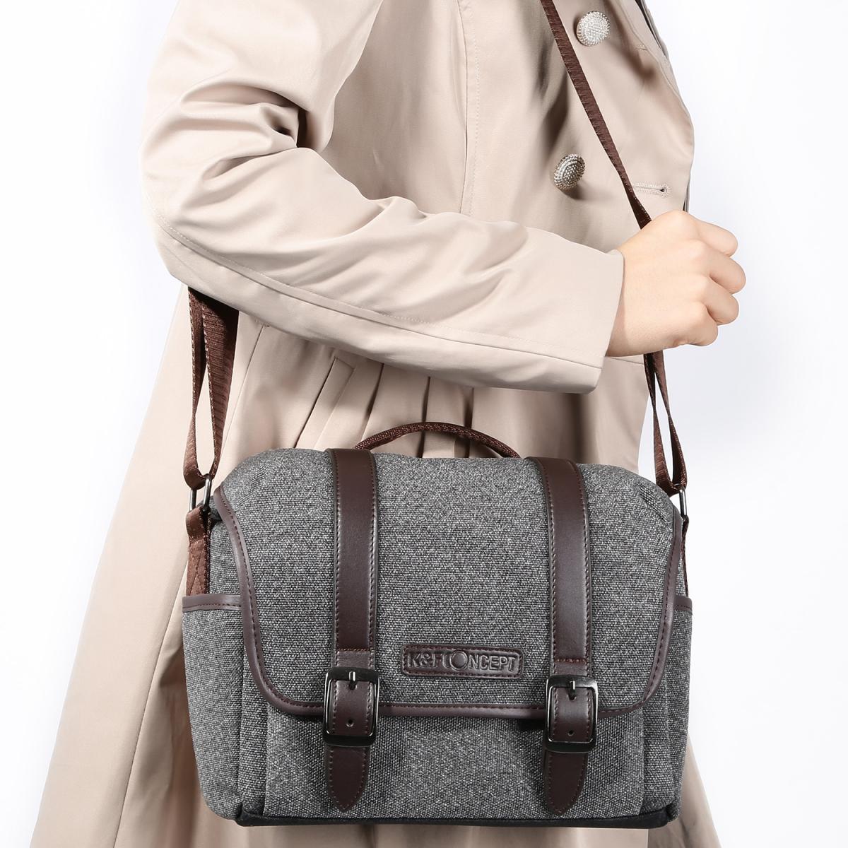 DSLR Camera Messenger Shoulder Bag Gray 9.8*5.1*8.7 inches