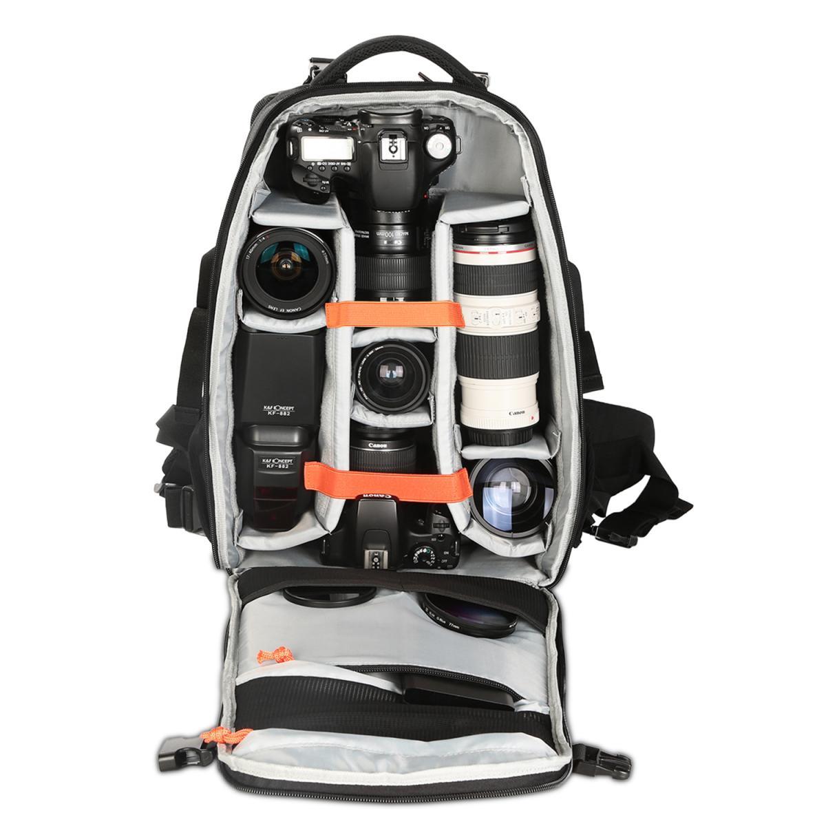 """K&F Mochila fotográfica profesional de alta capacidad (incluso un portátil de 15.6"""") y funda protectora para la lluvia"""