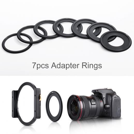 Suporte de metal de filtro quadrado + 7pcs adaptador anéis