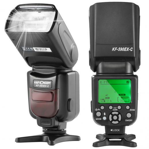 KF590C E-TTL Flash para escravo sem fio Canon EOS Rebel GN56 Auto-Focus