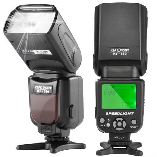 Flash Speedlite Universal KF-560 com Display LCD Compatível com Câmeras DSLR Canon Nikon