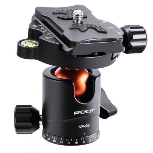 K&F KF25 cabeça esférica de tripé, cabeça esférica de câmera com placa de liberação rápida de 1/4 de polegada e nível de bolha, capacidade de carga de 10 kg, para tripé, monopé, controle deslizante de câmera, câmera reflex