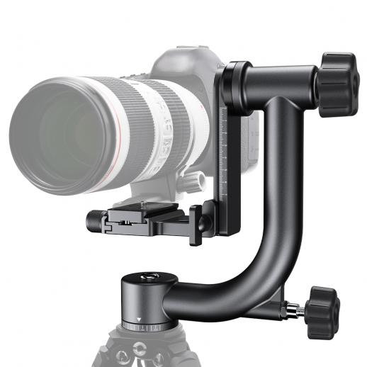 Aluminum Alloy 360 Degree Panoramic Gimbal Tripod Head with 1/4'' Standard Quick Release Plate and Bubble Level,Load Capacity up to 20kg/44lbs