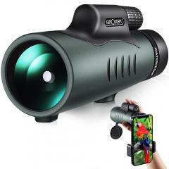 12X50 HD Étanche BAK4 Prisme Revêtement Vert Téléscope avec Interface Trépied pour Observation Oiseaux, Chasse, Randonnée, Concert