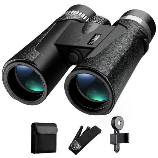 Binóculos HY1242A 12x42 com ocular grande de 20 mm e visão clara BAK4 para observação de pássaros, caça, esportes