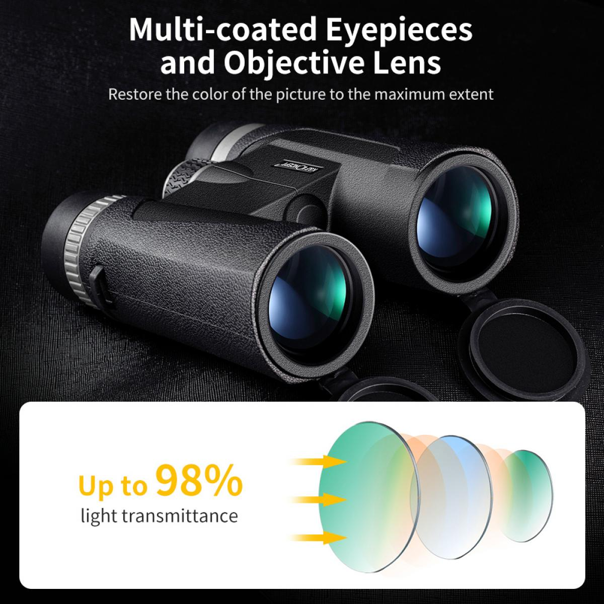 HY1242A 12x42 Binoculars with 20mm Large View Eyepiece & BAK4 Clear Light Vision for Bird Watching, Hunting, Sports