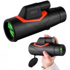 12x42 HD Monokulare Med Smart Telefonhållare Och Litet Stativ BAK4 Prisma för Jakt Fågelskådning Svartvandring