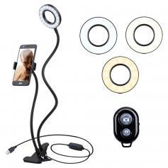 K&F Concept 10-calowa lampa pierścieniowa do selfie z podstawką Uchwyt na telefon do kamery Vlog Smartfon YouTube Autoportret Fotografowanie na żywo Streaming