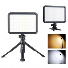 204 LED Video Light with Mini Tripod Stand, Dimmable 3200K-5600K Rechargeable