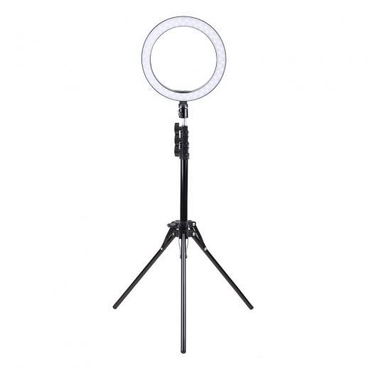 """K&F Lampe Annulaire 10"""" Lumière Torique avec Pied 140 cm 2 Clips pour Téléphone Microphone - K&F concept"""