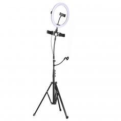 K&F Concept 10-calowe światło pierścieniowe Tryb 3-punktowy Jasność 11-stopniowa Ściemniana diodowa lampa pierścieniowa z pilotem Przeznaczona do streamingu, makijażu, robienia zdjęć selfie