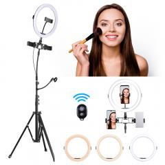 """K&F Concept 10 """"Ring Light Mode 3-Light Brightness 11-Level Brightness Dimmable LED Ring Light with Remote Conçu pour le streaming, le maquillage, la photographie selfie"""