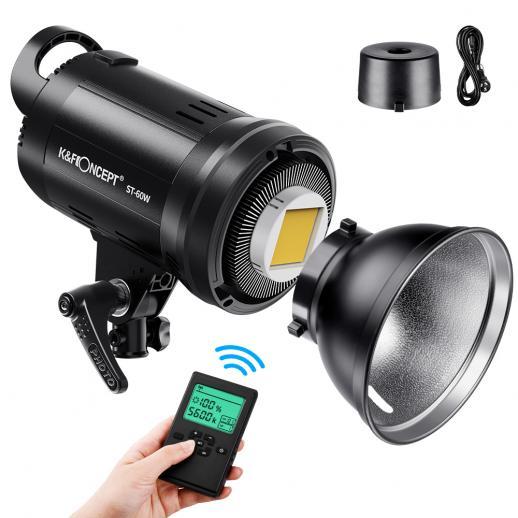 Luz de fotografía ST-60W con iluminación continua regulable por control remoto con soporte bowens para grabación de video, bodas, fotografía al aire libre (enchufe de la UE)