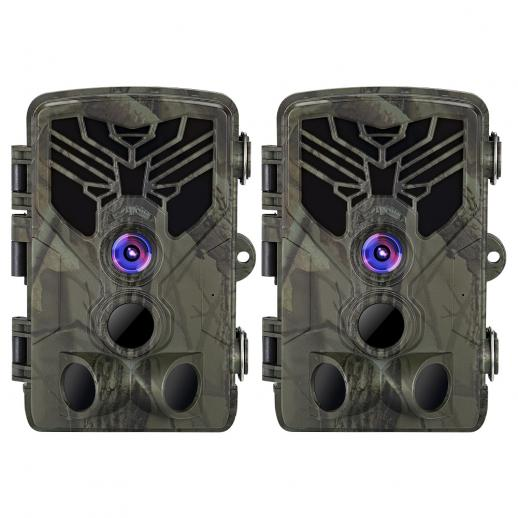 2PCS HC-810A 2.7K 24MP HD Trail Camera Hunting Camera Scouting Trail Camera Wildview