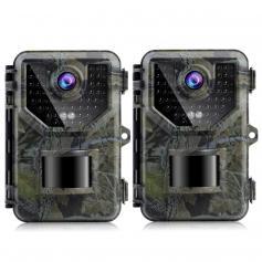 2.7K 20MP/0.2s Trigger Hunting Camera con IP66 Waterproof Sturdy e 120° Wide Flash Range per il monitoraggio della fauna selvatica(2PCS)