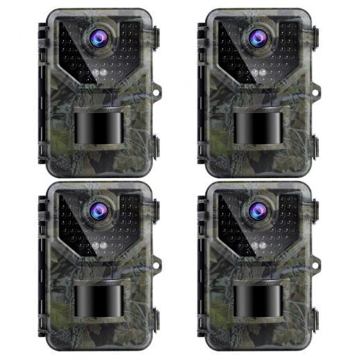 2.7K 20MP HD Trail Camera 0.2s Fast Trigger Speed IP66 Vattentät Robust Jaktkamera Med 120° Bred Blixtlängd för öVervakning Av Vilda Djur (4 St)