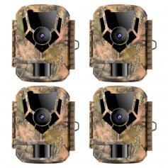 16MP/1080P Trail Camera 0.4S HD Outdoor Hunting and Track Cameras Vattentät Infraröd Night Vision Mini Hunting Camera (4 PCS)