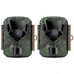 16MP 1080P HD Trail Camera 0.4s Trigger Outdoor impermeabile caccia a infrarossi Night Vision Mini telecamera (2 pezzi)