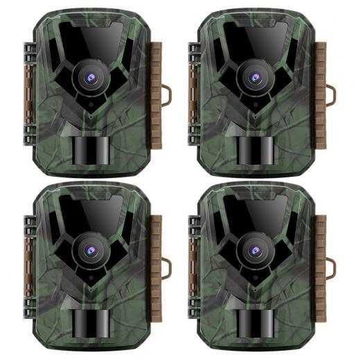 KF KF-301 Verde escuro 16MP / 0,4 segundos inicial, 1 câmera de visão noturna infravermelha PIR HD à prova d'água externa para caça e caça ao ar livre no site oficial (4pcs)