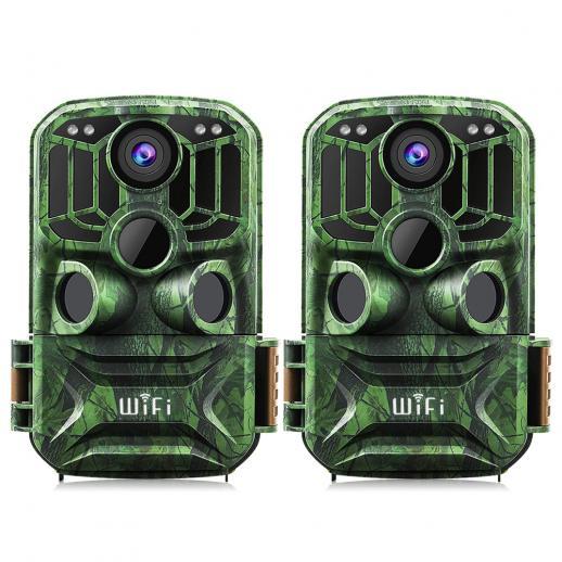 KF KF-401F Verde escuro 5 milhões de sensor 24 MP / 0,4 segundos inicial, 3 PIR, com função WIFI HD para caça à prova d'água ao ar livre e caça com câmera de visão noturna infravermelha site oficial para venda (2pcs)