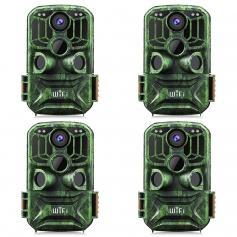 24MP 1296P HD WiFi Trail Camera 5 Million Sensor Outdoor Wildlife Monitoring Waterproof Night Infrared Vision Hunting Camera (4pcs)