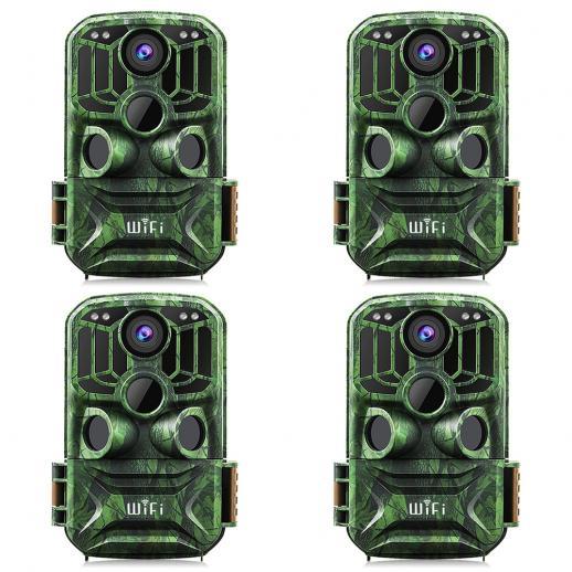 KF KF-401F Verde escuro 5 milhões de sensor 24MP / 0,4 segundos inicial, 3 PIR, transportar função WIFI HD para caça ao ar livre à prova d'água e caça infravermelho câmera de visão noturna site oficial para venda (4pcs)