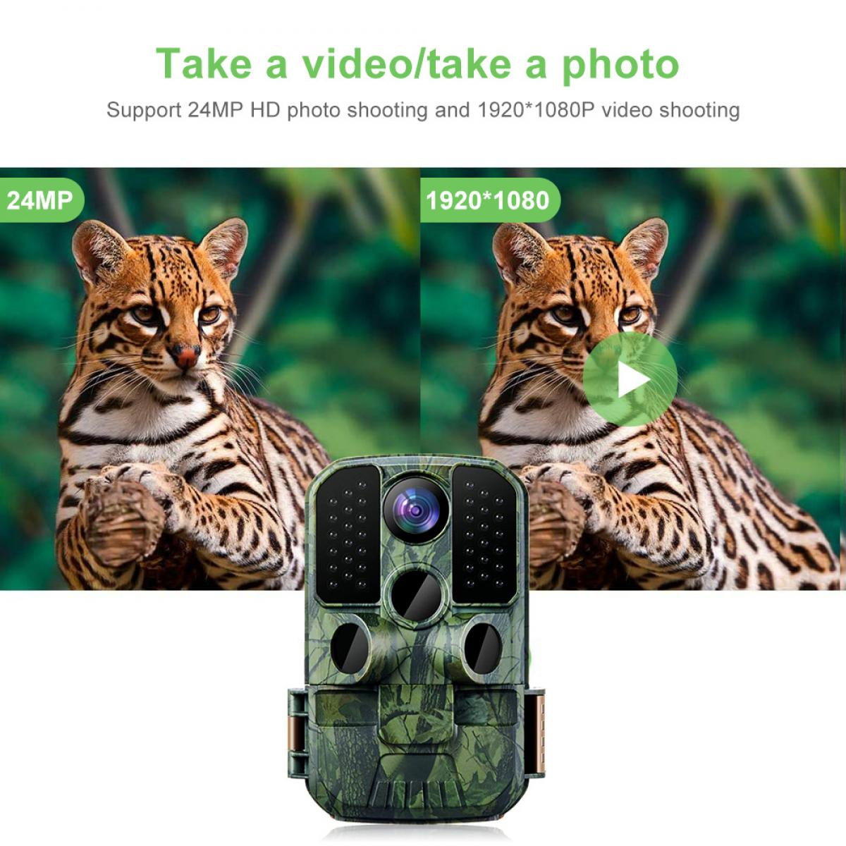 K&F KF-501F Trail Game Camera 24MP 1296P Night Vision Cámara de exploración de caza impermeable para monitoreo de vida silvestre