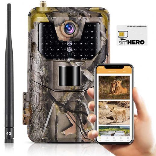 Kamera LTE 4G Trail Z BezpłAtną Kartą Sim Komórkowa Kamera śLedząCA 30MP 4K Wodoodporna Kamera MyśLiwska Do Gier (Wtyczka Ue)