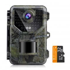 Kamera MyśLiwska 2.7k 20mp Z Kartą PamięCI 32 GB 0,2 S Szybka PRęDkość Wyzwalania ip66 Wodoodporny, Zakres BłYsku 120 ° Do Monitorowania Dzikiej Przyrody