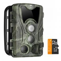 4K WiFi 30MP Caméra de jeu tout-terrain avec caméra de vision nocturne infrarouge de chasse infrarouge 940nm extérieure IP66 étanche + carte mémoire SD 32 Go gratuite