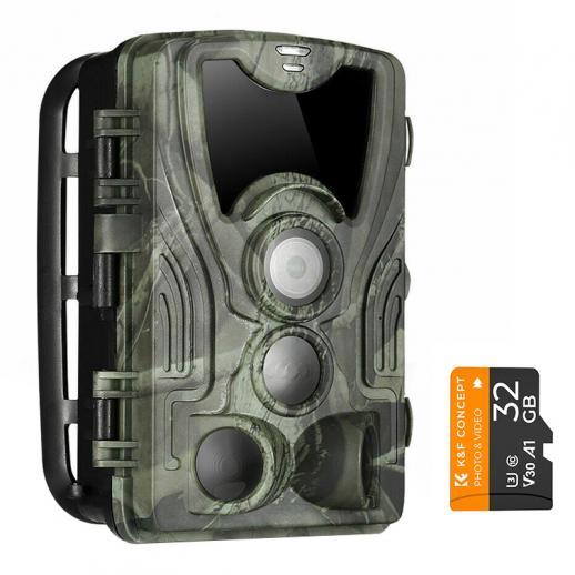 4K WiFi 30MP Terrängkamera Med 32GB Minneskort IP66 Utomhus Vattentät Jakt 940nm InfraröD Mörkerseende Kamera för Viltövervakning