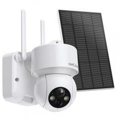 Caméra de sécurité à domicile extérieure sans fil 1080P alimentée à l'énergie solaire avec alerte audio et lumineuse, vision nocturne couleur et batterie intégrée de 14400mAh
