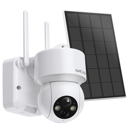 Telecamera di Sorveglianza Wi-Fi per Esterni Domestica Senza fili al 100% con Pannello Solare, Avviso Audio e Luce