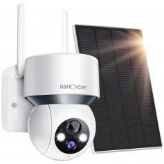 Bezprzewodowa Domowa Kamera BezpieczeńStwa 1080p Solar Outdoor Powered With Sound & Light Warning, Color Night Vision & 14400mah Wbudowana Bateria, Ip66