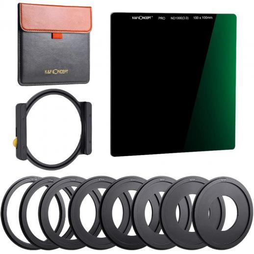 K&F SN25T1 ND1000 Square Filter 100x100mm + Metal Holder + 8pcs Adapter Rings For DSLR
