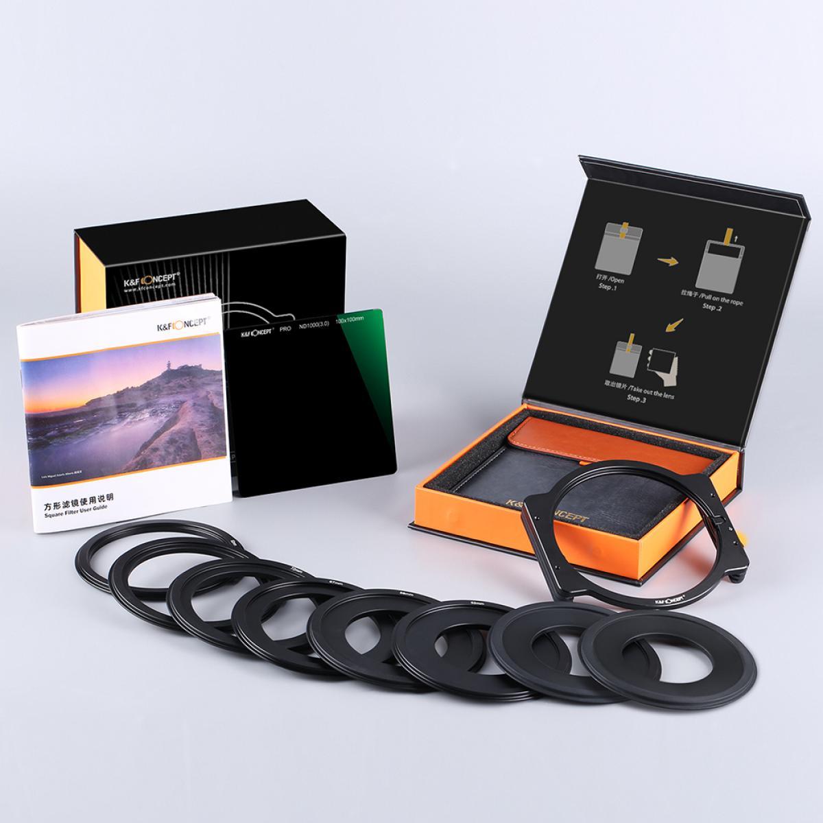 K&F Concept SN25T1 ND1000 Filtro cuadrado 100x100mm + Soporte de metal + 8 piezas Anillos adaptadores para DSLR
