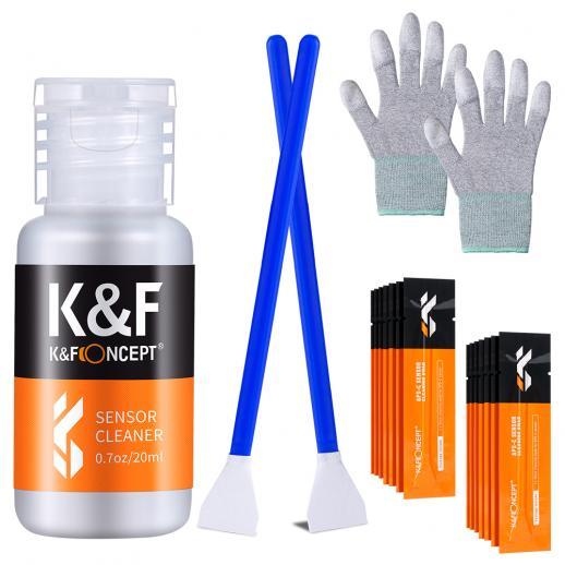 K&F CK02 APS-C 16mm Juego de barras de limpieza en formato (16 barras de limpieza + guantes de goma sin polvo de palma recubiertos de PU + botella de limpieza-sin líquido)