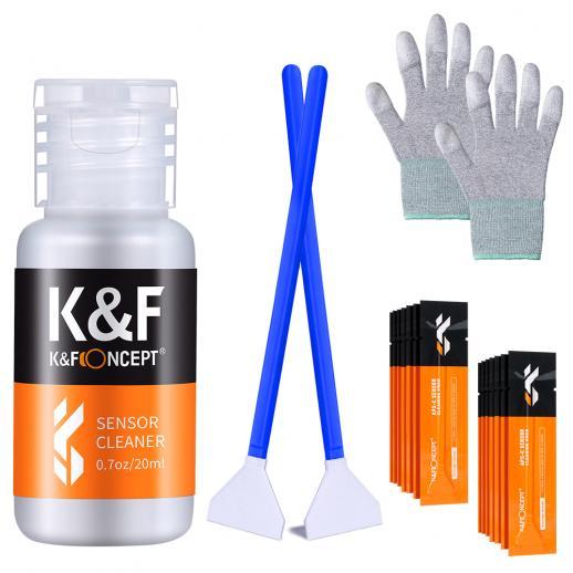 KF CK03 24mm APS täysikokoinen puhdistuspuikkosarja (16PCS puhdistustikku + 20 ml puhdistusneste + pari PU-päällystettyä kämmentietoketta, pölyttömät kumikäsineet)
