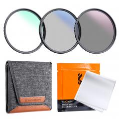 K&F Concept 67mm 3pcs Slim Lens Filter Kit (MCUV+CPL+ND4) + Lens Cleaning Pen + Filter Pouch