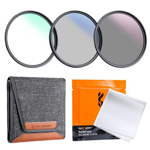 K&F Concept 77mm 3pcs Kit de filtre à objectif mince (MCUV + CPL + ND4) + stylo de nettoyage d'objectif + pochette de filtre