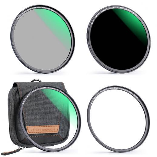 K&F 62 mm magneetfilter MCUV + CPL + ND1000, waterdicht, krasbestendig, antireflectie groene film, met magnetische bevestigingsring en draagtas