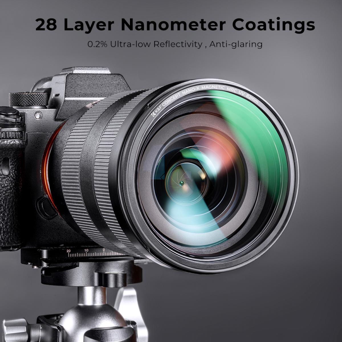K&F - 58mm Kit Filtros Magnéticos compuesto por Filtro Protector UV + Filtro Polarizador (CPL) + Filtro de Densidad Neutra de 10 pasos (ND1000) y estuche de transporte