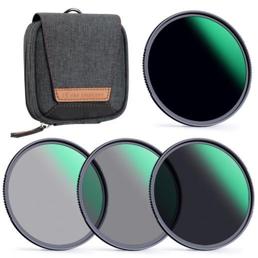 K&F Concept 67 mm ND4, ND8, ND64, ND1000 Kit de filtro de lente para lente de câmera + bolsa de filtro