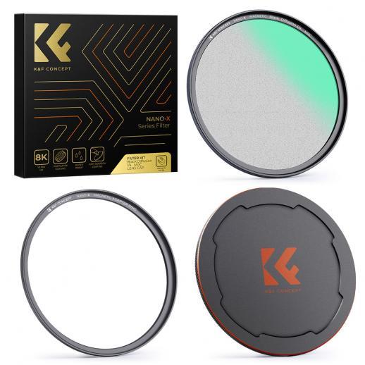 58mm 1/4 Schwarzer weichmagnetischer Saugfilter-Set HD mit wasserdichter kratzfester entspiegelter Filterfolie NANO-X-Serie