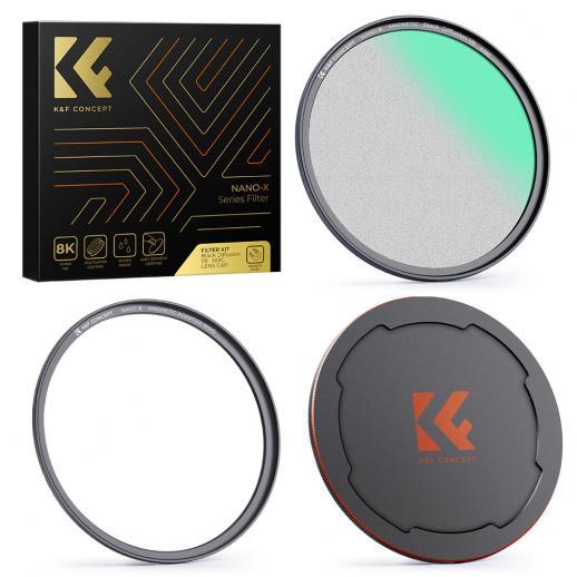 52MM, filtro di aspirazione magnetico morbido NANO-X-1/8 nero, alta definizione, rivestito con pellicola verde impermeabile, antigraffio e antiriflesso, con anello di fissaggio magnetico e coperchio superiore magnetico in metallo