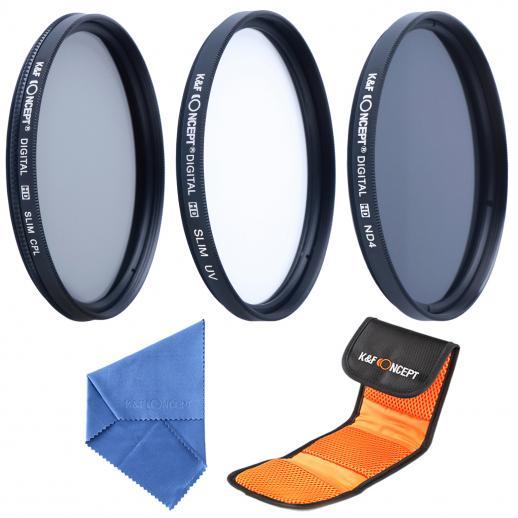 58mm UV, CPL, ND4 Filtro Kit