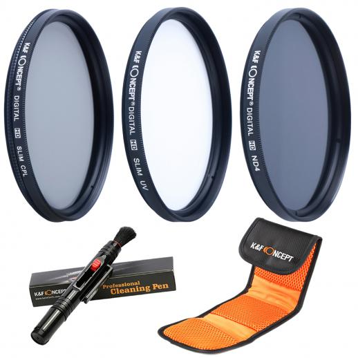 55mm UV, CPL, ND4 Filtro Kit
