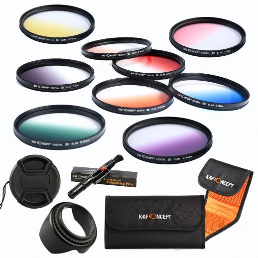 58mm Filtro Kit Laranja Graduado, Azul, Cinza, Vermelho, Roxo, Verde, Rosa, Marrom, Amarelo