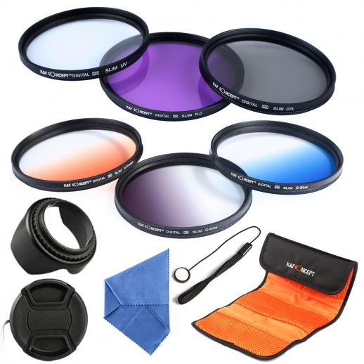 52mm UV, CPL, FLD, Graduado Azul, Laranja, Cinza Filtro Kit