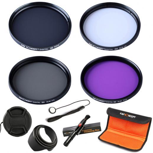 55mm UV, CPL, FLD, ND4 Filtro Kit